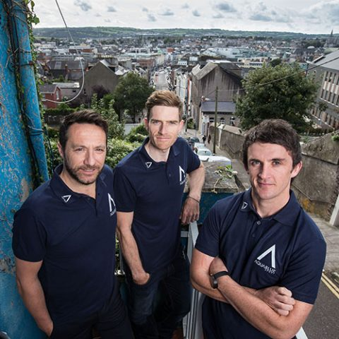 Team Aqua Blue Sport Announcement Cork City, Monday 3rd November 2016: Former Olympic cyclist and World Track Champion Martyn Irvine is pictured alongside Sporting Director Tim Barry and Director of Athletic Performance Stephen Barrett at the launch of Team Aqua Blue Sport, Ireland's first UCI Professional Continental cycling team. Picture: Cathal Noonan